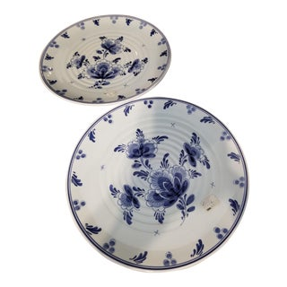 Vintage Holland Blue Delft Plates - A Pair