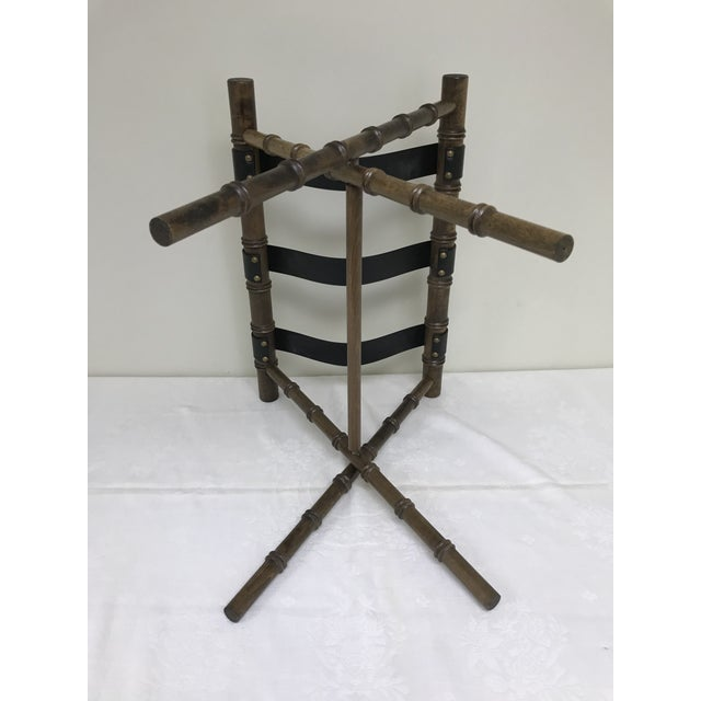 Animal Skin 1960s Regency Faux Bamboo Leather Strap Folding Luggage Rack Stand For Sale - Image 7 of 10
