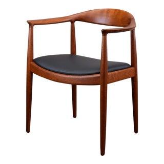 Early Hans Wegner for Johannes Hansen Jh-503 'The Chair' in Teak & Leather For Sale