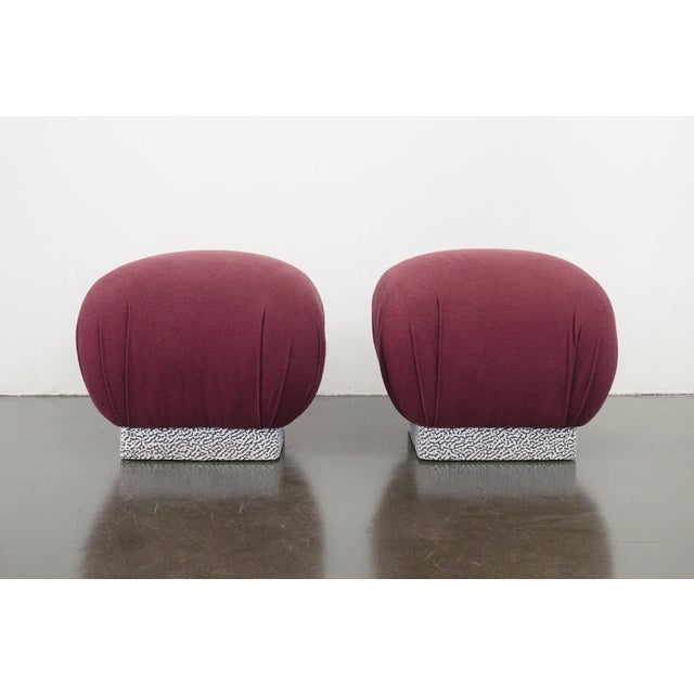 Mid-Century Modern Karl Springer Purple Cotton Soufflé Poufs - a Pair For Sale In Seattle - Image 6 of 7