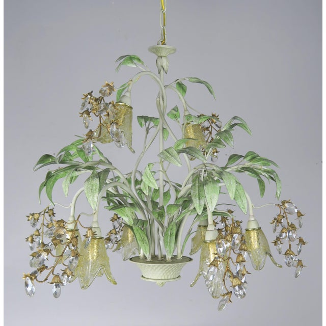 Painted Tole and Murano Glass Chandelier C. 1940's For Sale - Image 10 of 10