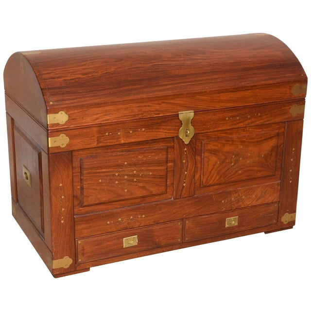 Mid-Century Anglo-Indian Domed Trunk For Sale - Image 11 of 12