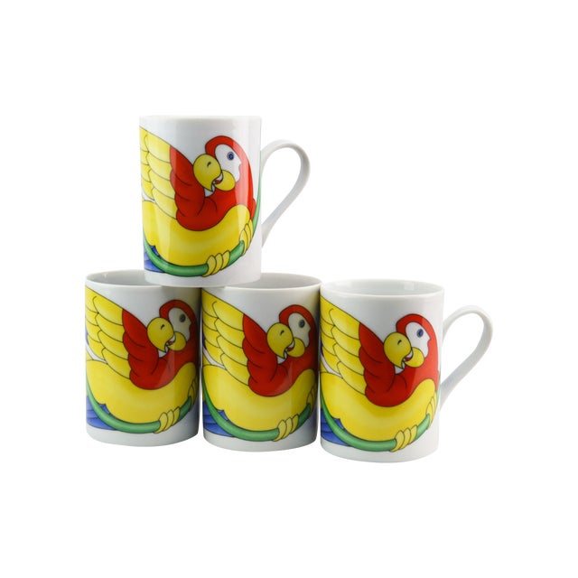 Fitz & Floyd Parrot in Ring Coffee Mug - Set of 4 - Image 1 of 7
