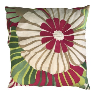 Trina Turk Embroidered Floral Pillow For Sale