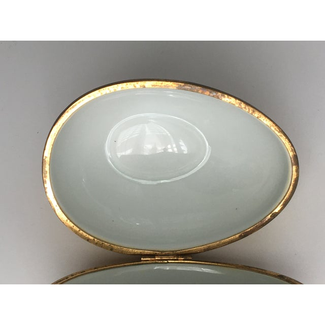 1970s Chamart Co Exclusive Limoges, France Porcelain Trinket Box, Yellow Egg For Sale - Image 9 of 13