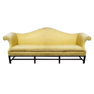 Last Call 1960s Kittinger Chippendale Scalamandre Yellow Silk Damask Camelback Sofa