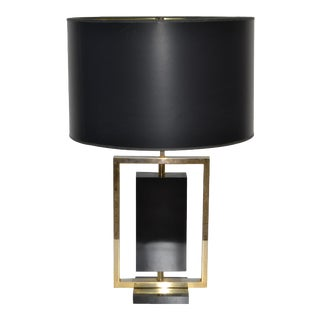 Maison Lancel Brass & Black Stone French Mid-Century Modern Table Lampe For Sale