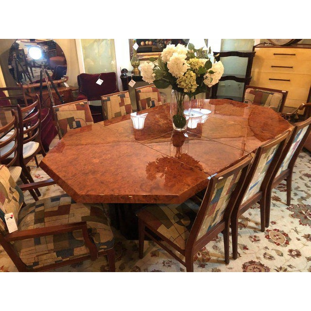 Burlwood Mid-Century Milo Baughman For Thayer Coggin Burl Walnut Octagonal Dining Table For Sale - Image 7 of 12