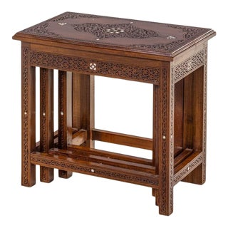 Syrian Carved Walnut Mother of Pearl Inlaid Nesting Tables For Sale