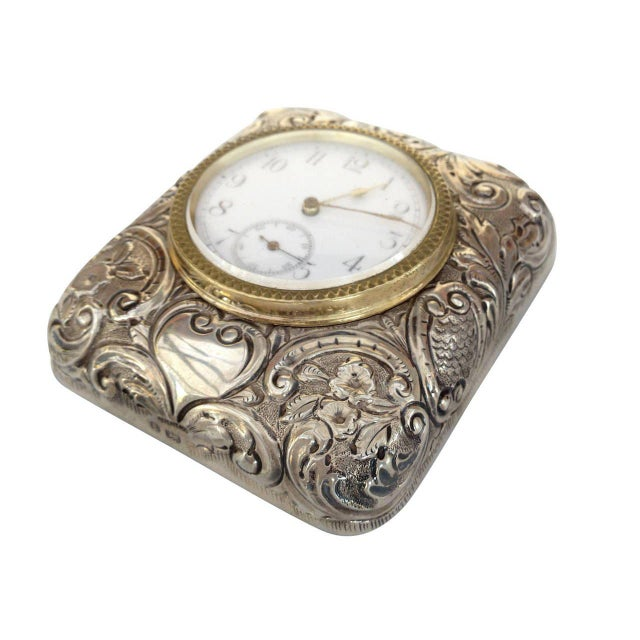 Victorian Silver Embossed Bed Side Clock by Douglas Clock Company - Image 4 of 7