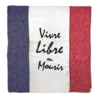 Antique Embellished Flag of France, Vivre Libre Ou Mourir For Sale