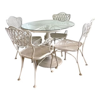 Mid-Century Woodard Wrought Iron Patio Furniture-Set of 5 For Sale