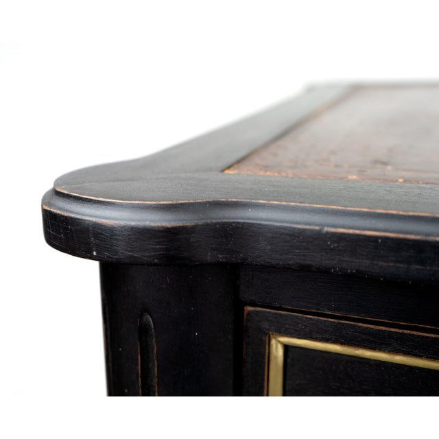 Empire Empire Black Writing Desk With Original Tooled Leather Top For Sale - Image 3 of 7