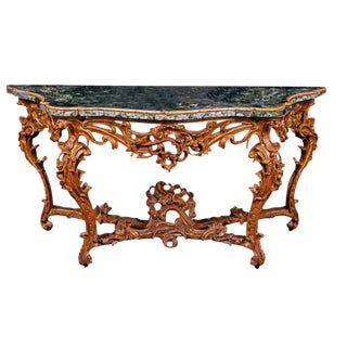Very Large Mid-18th Century Italian Rococo Giltwood Green Marble Top Console For Sale