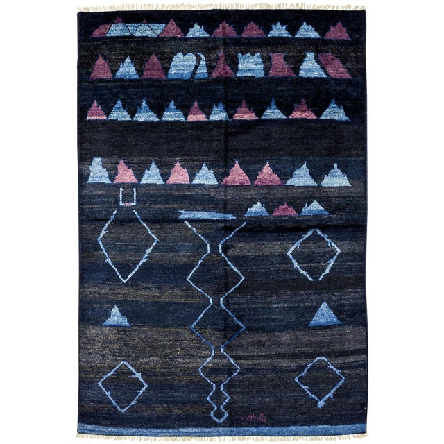 """Moroccan Navy Hand-Knotted Rug - 5'10"""" x 8'10"""" For Sale"""