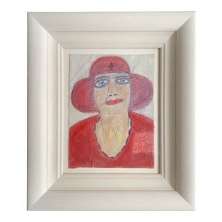 """1980s """"Portrait of a Woman in Red"""" Drawing by Lee Godie, Framed For Sale"""