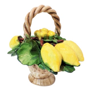 1970s Italian Trompe l'Oeil Majolica Basket of Lemons For Sale