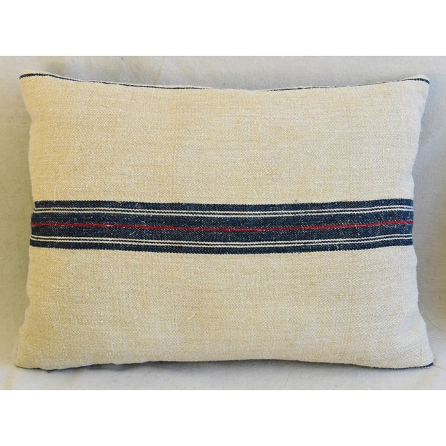 "Belgian French Woven Blue & Red Striped Grain Sack Feather/Down Pillows 24"" X 18"" - Pair For Sale - Image 3 of 13"