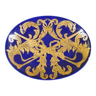 Piero Fornasetti Oval Dish With Gilt Pipe and Tobacco Motif For Sale