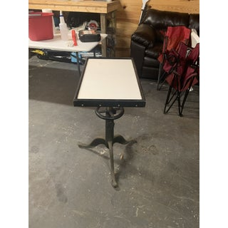Industrial Bausch and Lomb Milk Glass Optometry Examination Side Table Preview