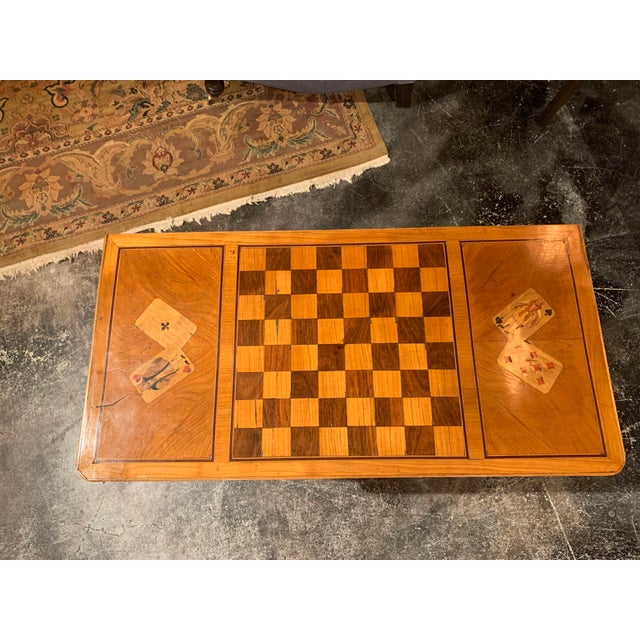 19th Century English Traditional Fruitwood Game Table With Inlay For Sale - Image 4 of 13