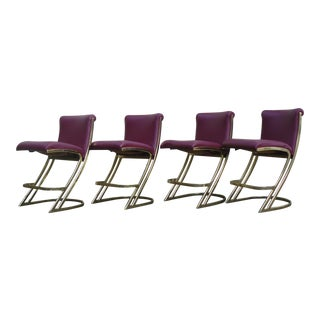 Pierre Cardin Style Brass Cantilever Chairs - Set of 4 For Sale