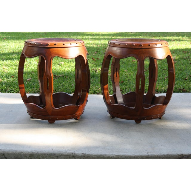 Vintage Asian Rosewood Drum Stools - A Pair - Image 2 of 11