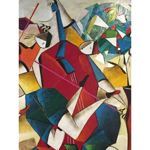 "Beautiful original David Schluss ""Fantasia of Music"" mixed-media on canvas. Image size - 60 x 60."