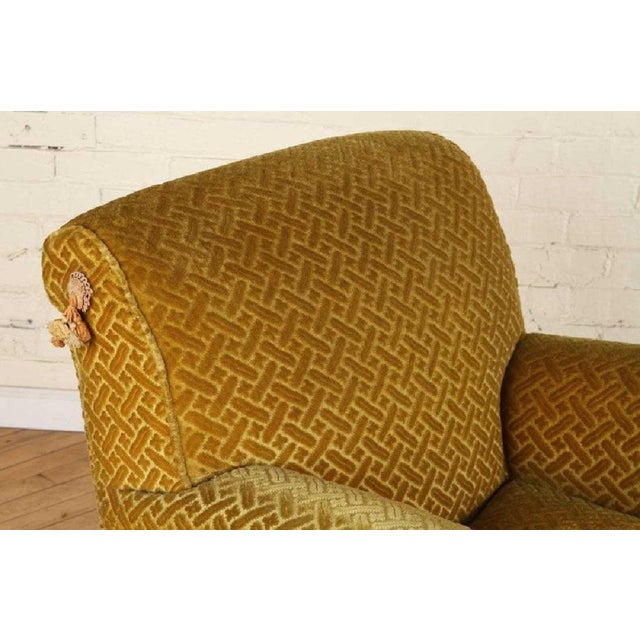 Art Deco Pair of 1940s French Club Chairs With Matching Ottomans For Sale - Image 3 of 8