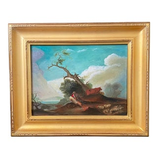 1990s English Country Scene of Shepherd and Lover Oil Painting, Framed For Sale
