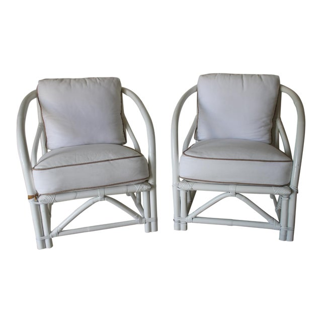 Vintage Mid Century White Bamboo Chairs - a Pair For Sale