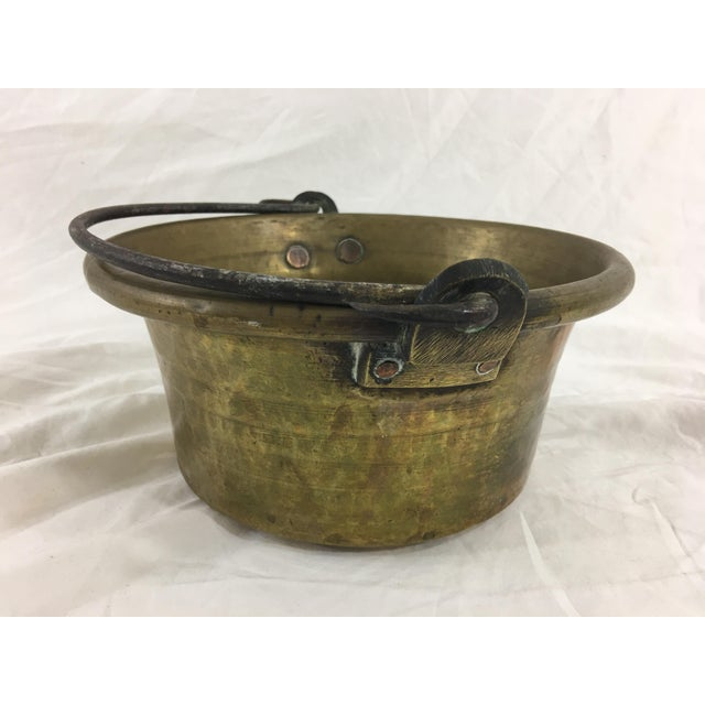 Metal Antique French Small Brass Cauldron With Wrought Iron Handle For Sale - Image 7 of 8