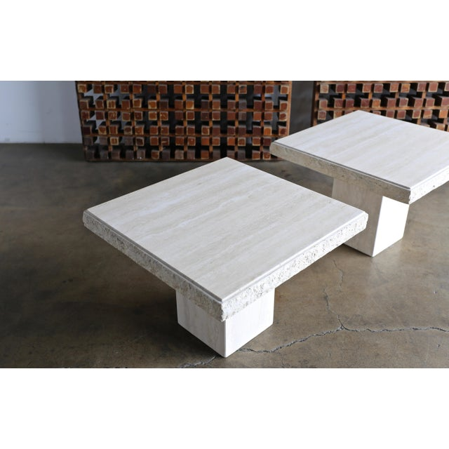 1980s Vintage Travertine Side Tables- A Pair For Sale - Image 9 of 13