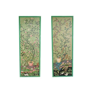 Magnificent Pair of Hand Painted Chinese Wallpaper Panels For Sale