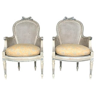 Late 19th Century Antique French Louis XV Style Bergeres - A Pair For Sale