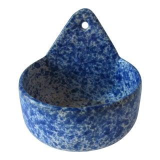 Blue & White Spattered Design Soap Dish For Sale