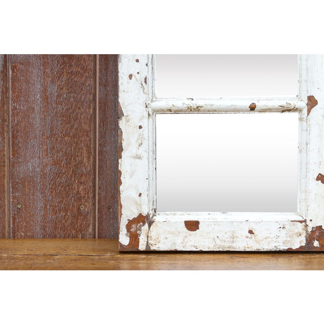 Antique White Paneled Window Mirror For Sale - Image 4 of 7