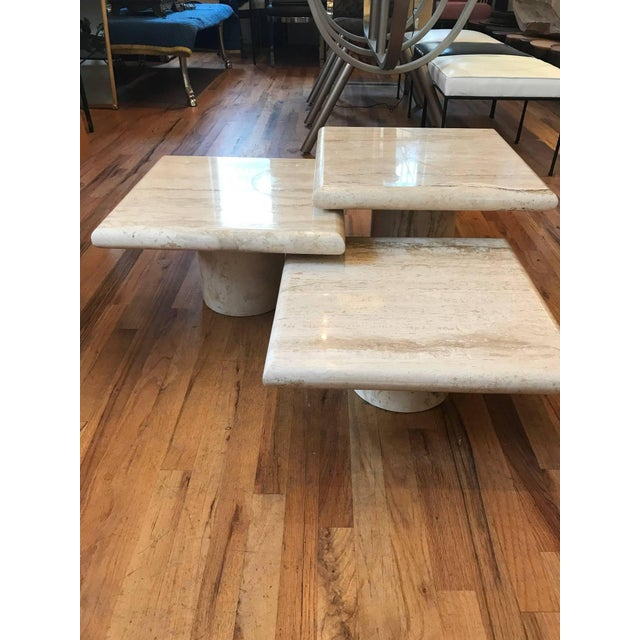 Set of Three Italian Square Travertine Coffee Table For Sale - Image 4 of 11