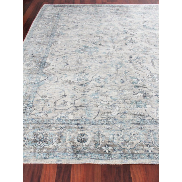 Exquisite Rugs Biron Handmade Wool & Viscose Beige & Blue - 8'x10' For Sale - Image 4 of 9