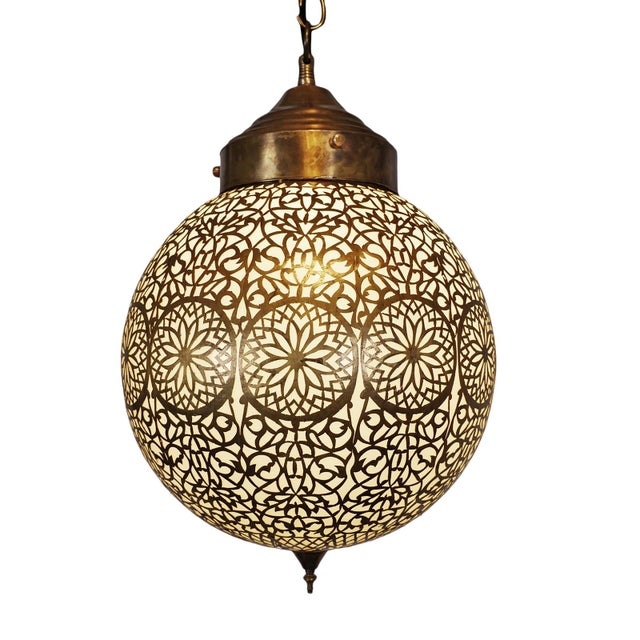 Moroccan Vintage Brass & Frosted Globe Pendant For Sale - Image 3 of 3