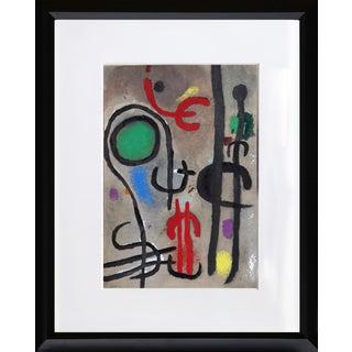 """Cartones 23: Femme Oiseau Dans La Nuit"" Framed Lithograph by Joan Miro For Sale"