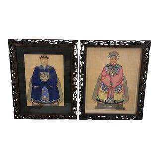 "19th Century Chinese ""Emperor and Empress"" Watercolor on Silk in Rosewood Carved Frame - a Pair For Sale"