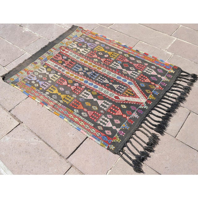 This antique Turkish handwoven rug made of organic sheep wool and colored with vegetable dyes. It is very rare piece...
