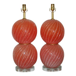 Melon Pulegoso Murano Stacked Ball Lamps For Sale