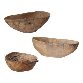 Set of Three 19th Century Swedish Root Wood Bowls
