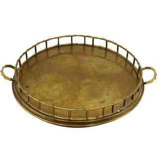 VIntage 1920s Brass Bamboo Serving Tray