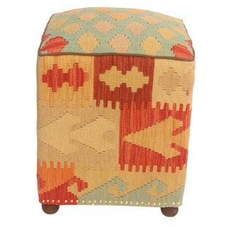 Loura Blue & Tan Kilim Upholstered Handmade Ottoman