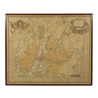 1953 Reproduction Map of Stockholm in 1733 For Sale