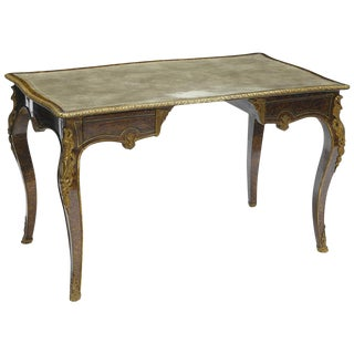 French Faux Tortoise Shell Bureau Plat Desk, 19th Century For Sale