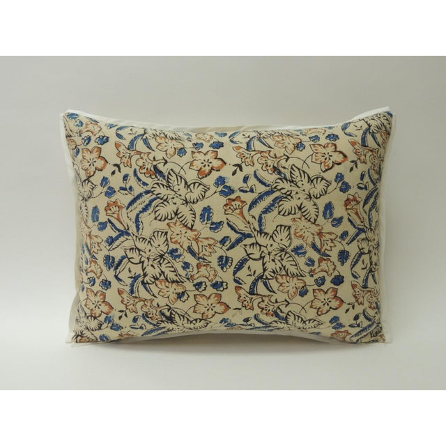 1960s Vintage Indian Hand-Blocked Artisanal Textile Decorative Bolster Pillow For Sale - Image 5 of 5